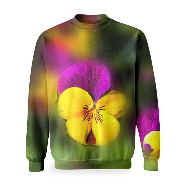 Yellow Purple Flower Basic Sweatshirt