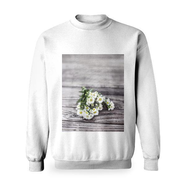 White Petal Flower Bouquet On Brown Wooden Surface Basic Sweatshirt