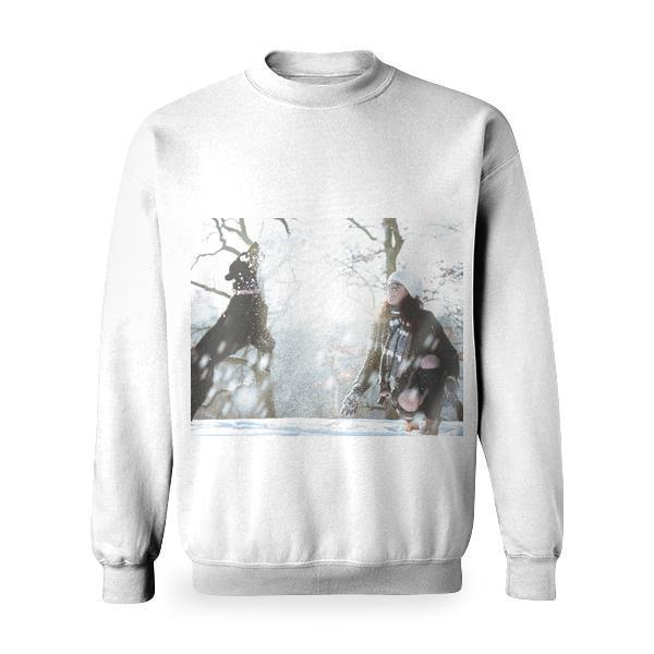 Young Woman In Snow Basic Sweatshirt