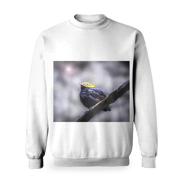 Yellow Head Black Short Beaked Bird Basic Sweatshirt