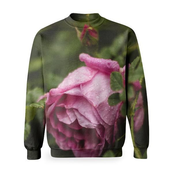 Selective Focus Photography Of Pink Rose Basic Sweatshirt