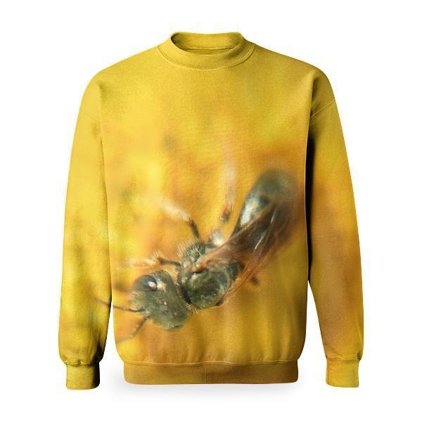 Yellow Flower Insect Macro Basic Sweatshirt