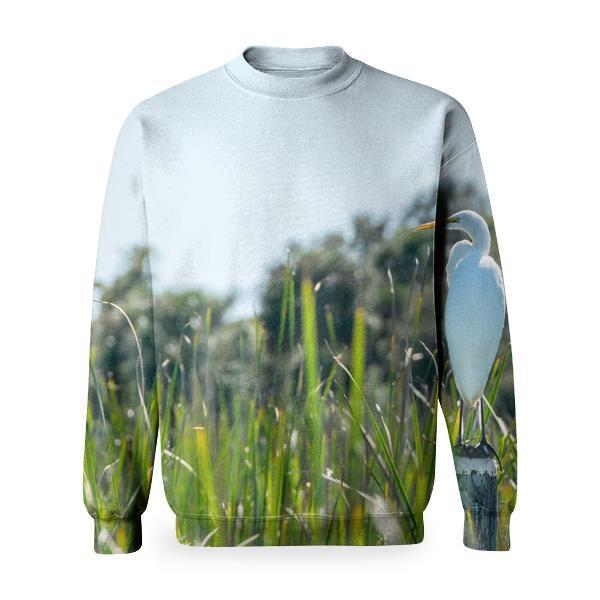 White And Yellow Bird On Pole Beside Grasses During Daytime Basic Sweatshirt