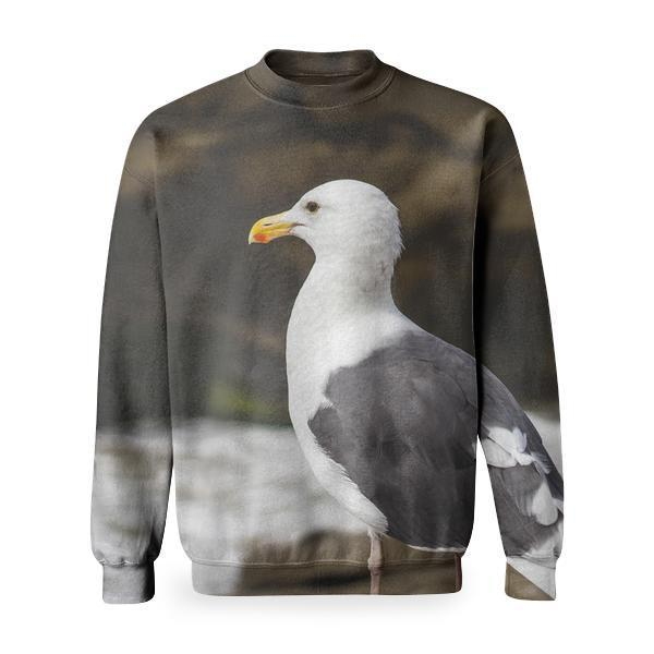 White And Grey Bird Basic Sweatshirt
