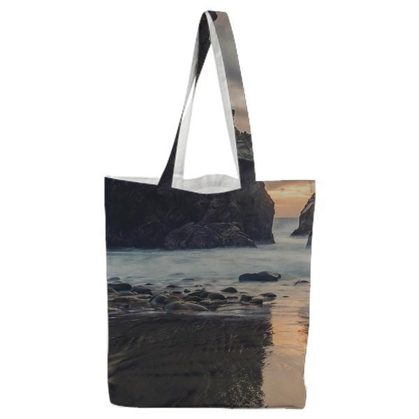 2 Black Stone Formation Surrounded By Body Of Water In Daytime Tote Bag