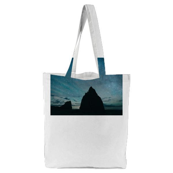 Silhouette Of Mountain During Nighttime Tote Bag