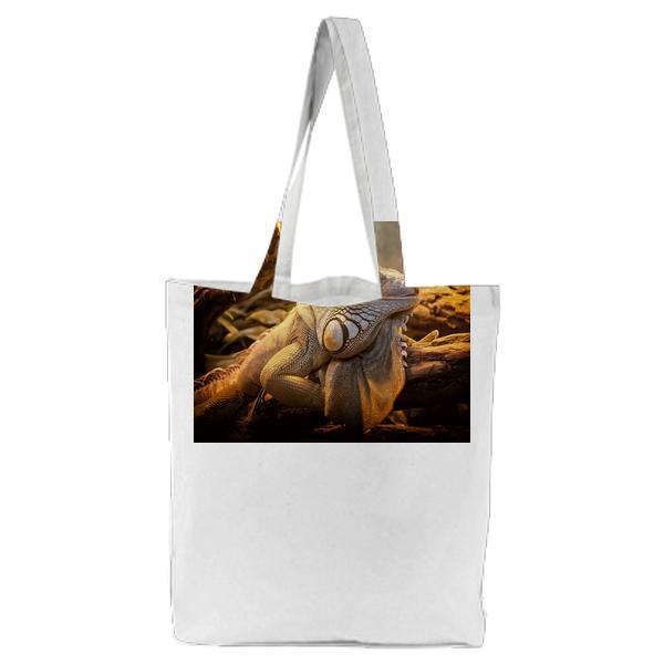 Close Photo Of White And Black Lizard On Branch Tote Bag