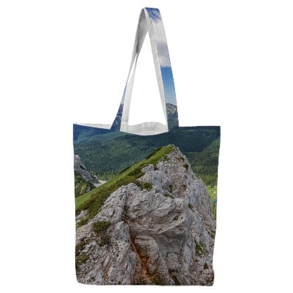 Aerial Photography Of Mountain With Green Leaf Trees During Daytime Tote Bag