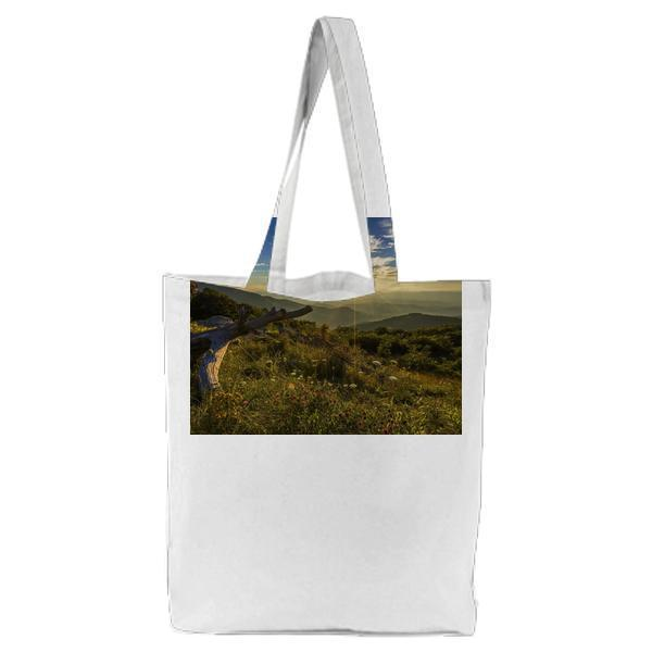 Mountain View During Sun Rise Under Blue Sky Photo Tote Bag
