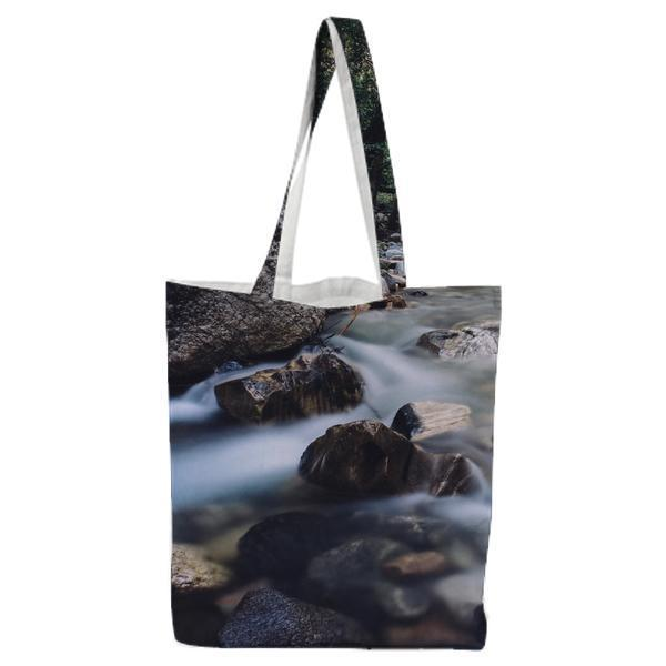Grey Rocks On River Between Woods Tote Bag