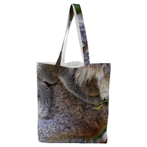 Grey And White Koala Bear Tote Bag