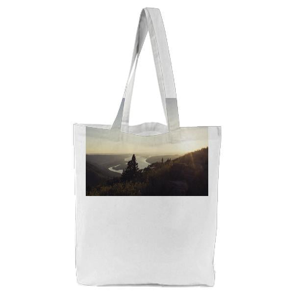 Dawn Landscape Mountains Nature Tote Bag
