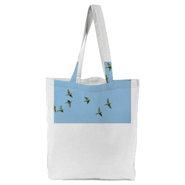 Green Feathered Bird On Mid Air Flying Tote Bag