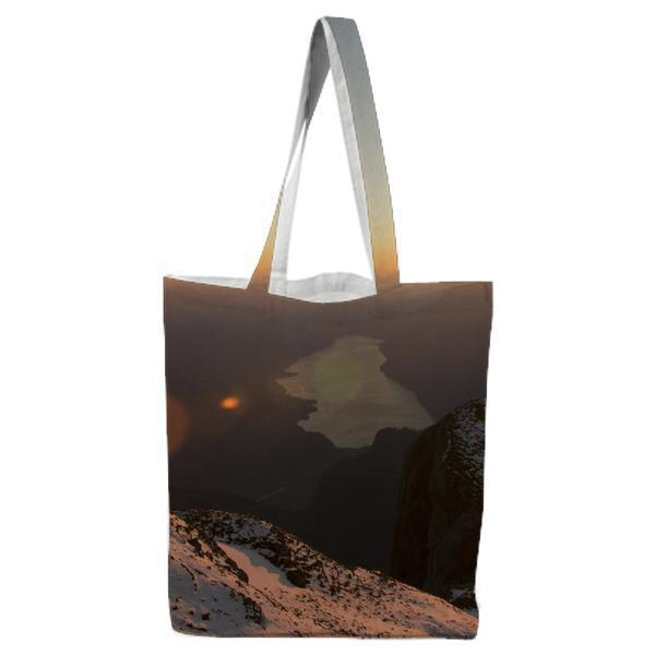 Landscape Photo Of Mountain With Snow Tote Bag