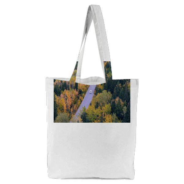 White Car Traveling Near Trees During Daytime Tote Bag