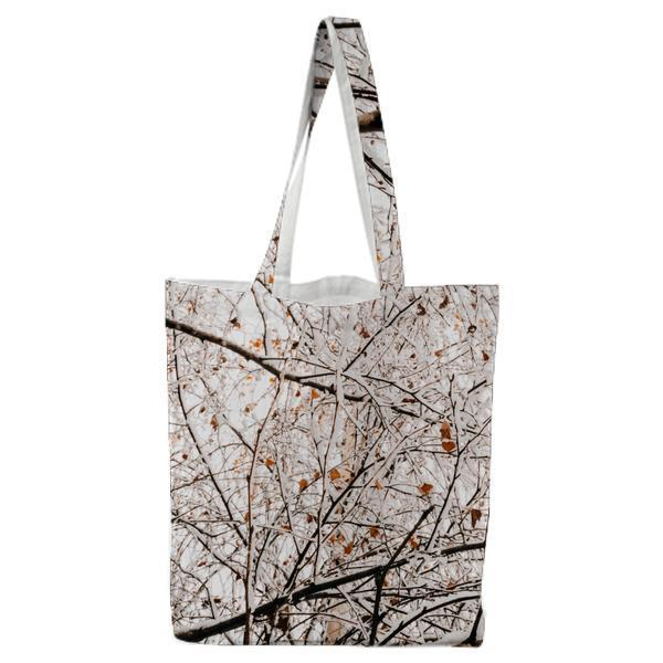 Cold Snow Wood Nature Tote Bag