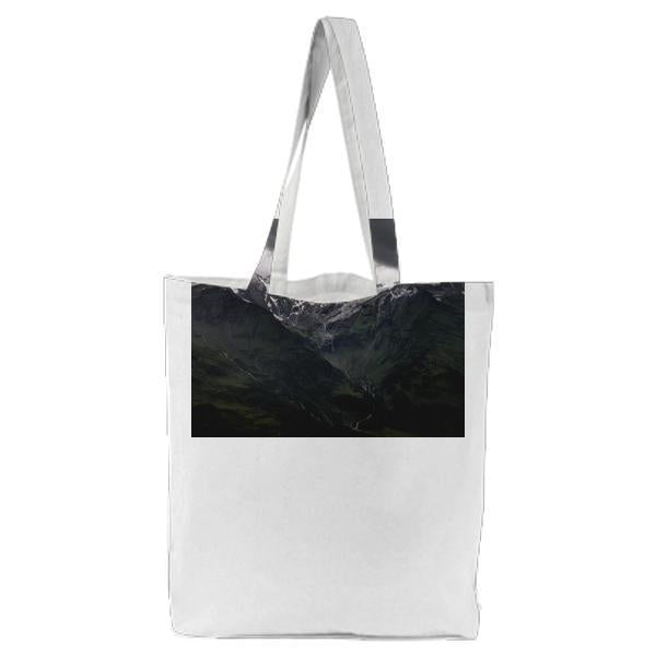 Green Mountains Under Cloudy Sky Tote Bag