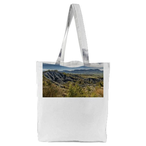 Green And Gray Mountain Under White Blue Sky Tote Bag