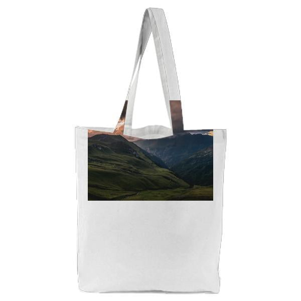 Landscape Photography Of Green Hills Under Gray Sky During Daytime Tote Bag
