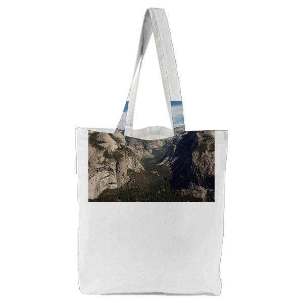 High Angle Photo Of Green Grass And Grey Mountain Tote Bag