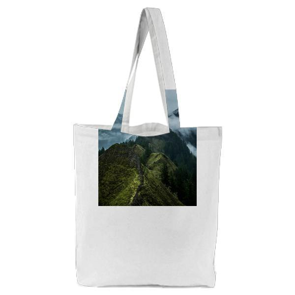 Green Mountain With Fogs Tote Bag