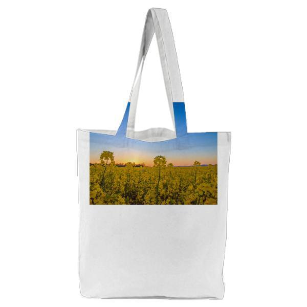 Landscape Photography Of Yellow Flower Field Under Blue Sky During Daytime Tote Bag