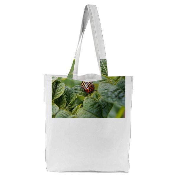 Orange And Yellow Bug On Leaf Tote Bag