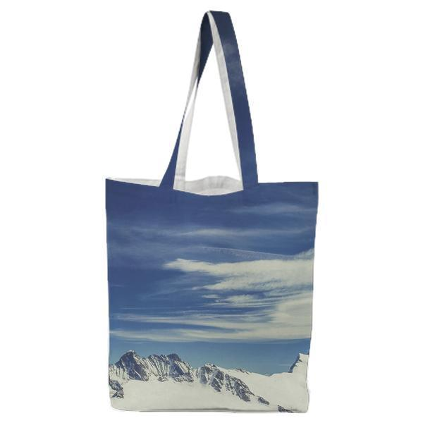 Mountain Surrounded By Snow Under Blue Sky Tote Bag