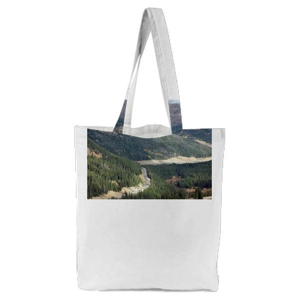 Top View Of Green Mountain During Daytime Tote Bag