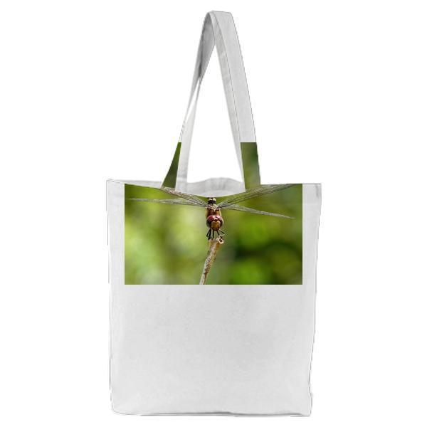 Shallow Focus Photography Of Black And Yellow Dragonfly Parched On Brown Tree Trunk During Daytime Tote Bag