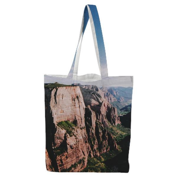 Canyon With Green Trees Landscape Tote Bag