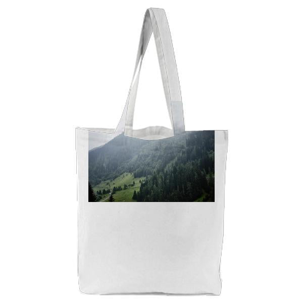 Nature Skyline With Foggy Air During Daytime Tote Bag