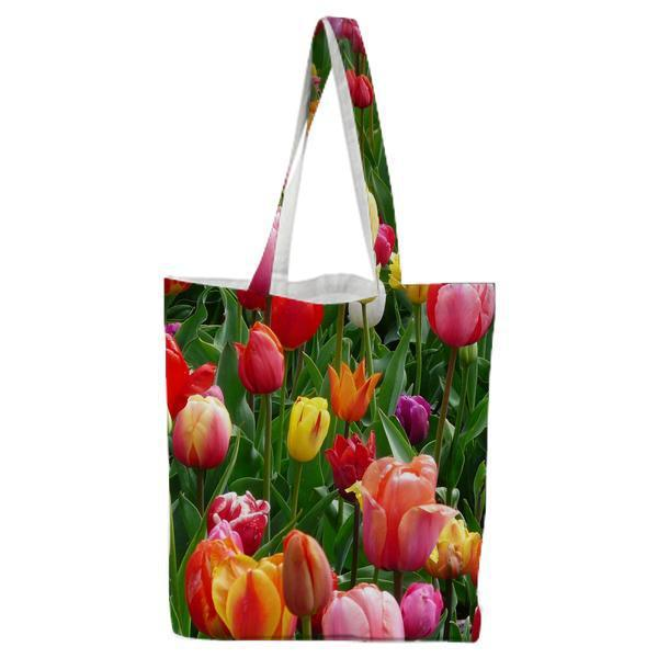 Red Purple And Yellow Tulip Fields Tote Bag