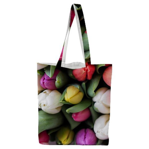 Red Whiet And Pink Tulips Tote Bag