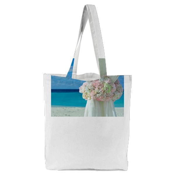 Pink White Petal Flower On Curtain Near Sand Beach Daytime Tote Bag