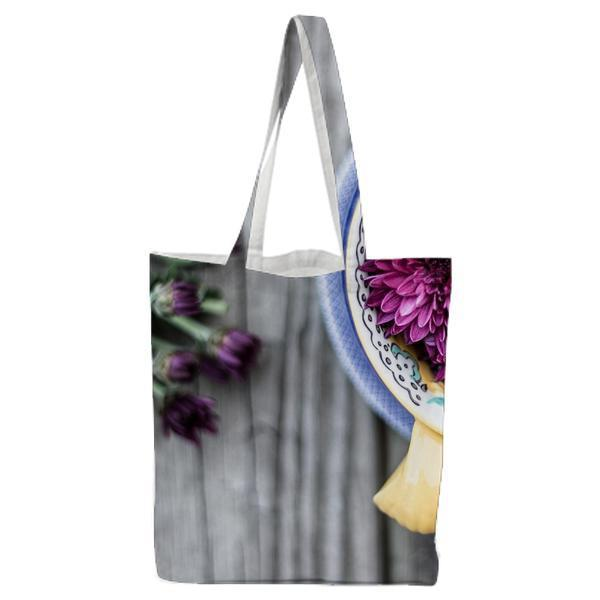 Purple Flowers In Blue Brown And Ceramic Bowl Tote Bag