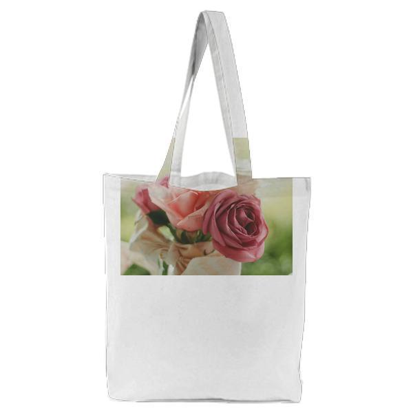Red Rose Pink And White In Close Up Photo Tote Bag