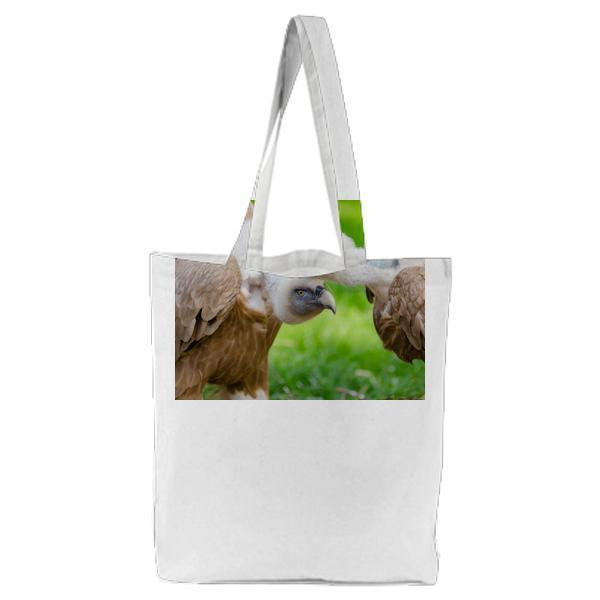 Brown And White Vultures Standing On Grass Field In Close Up Photography During Daytime Tote Bag