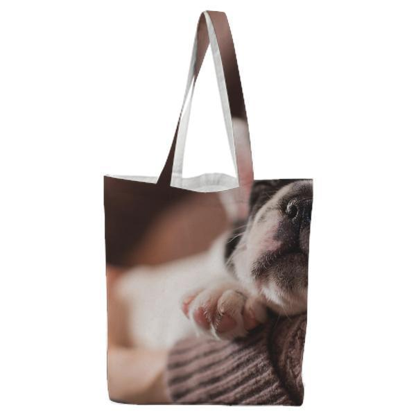 White And Black Puppy Tote Bag