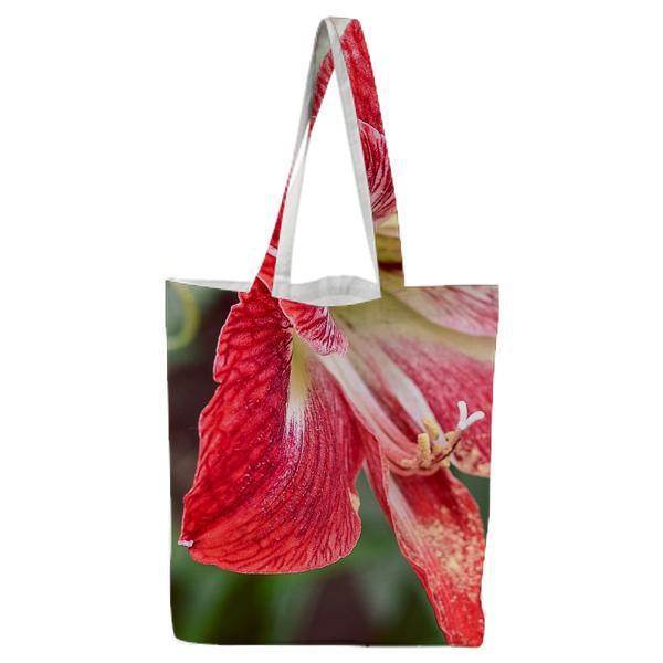 Red Petaled Flower Tote Bag
