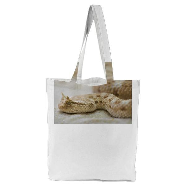 White Tan Snake Tote Bag