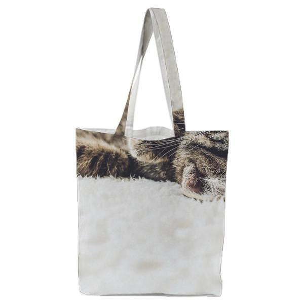Brown Tabby Kitten On White Textile Tote Bag