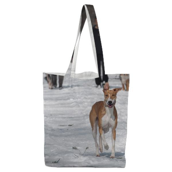 2 Person And Dog Walking In The Snow During Daytime Tote Bag