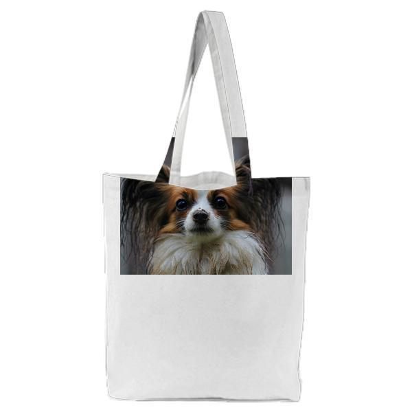 White Brown Long Coat Small Dog Tote Bag