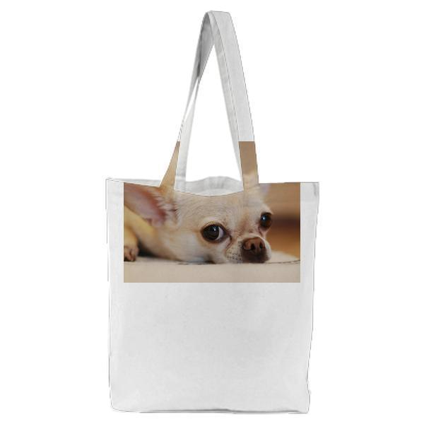 Chihuahua Lying On White Textile Tote Bag