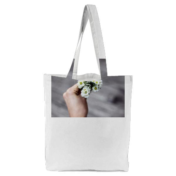 White And Green Flower In Tilt Shift Lens Photo Tote Bag