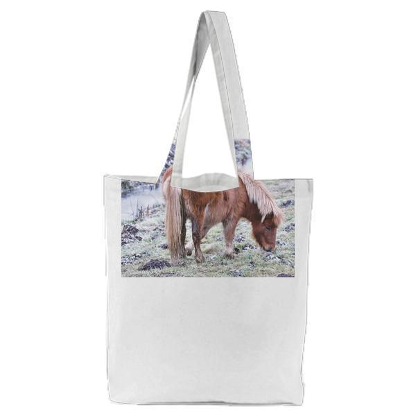 Horse On Field Tote Bag