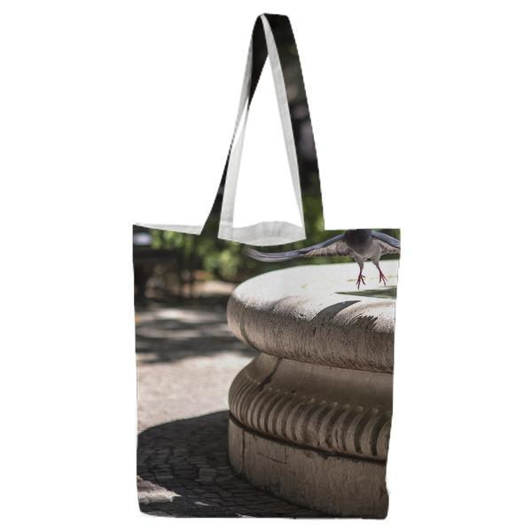 Gray Bird Near Water Fountain At Daytime Tote Bag