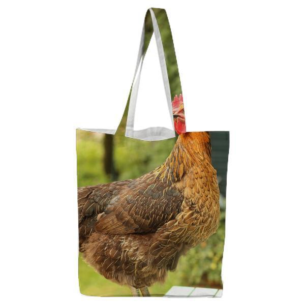 Brown And Black Rooster Tote Bag