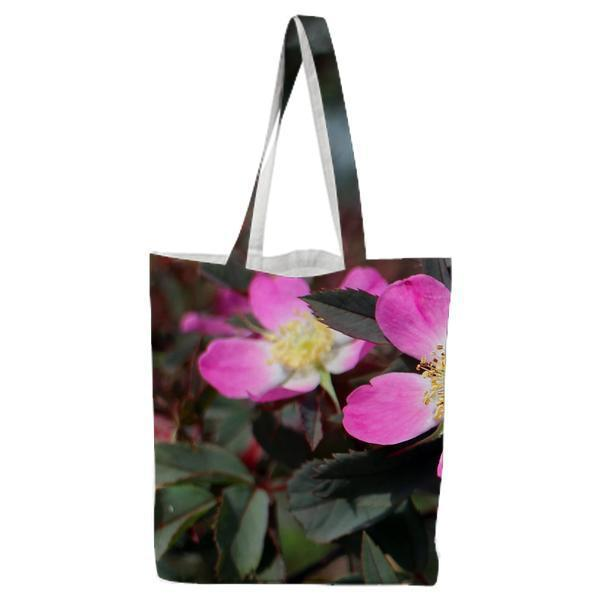 Pink And White Petaled Flower Tote Bag
